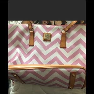 Pink and white stripe vinyl Dooney and Bourke bag